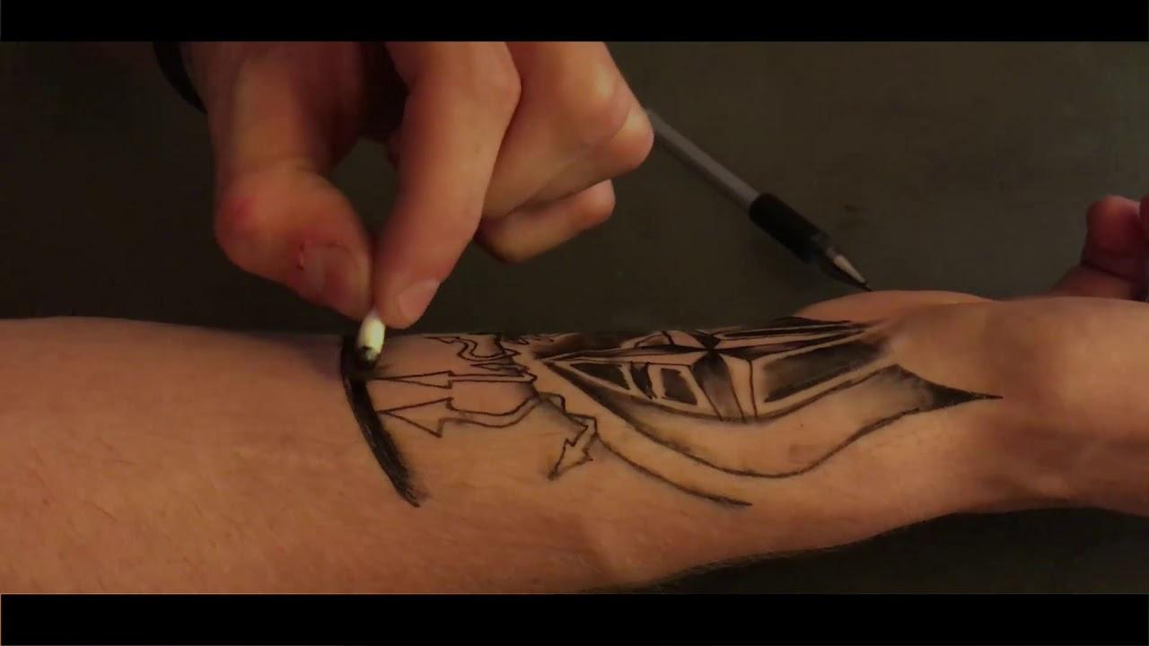 2 Sztuczny Tatuaż Długopisem Tattoo Geel Peen