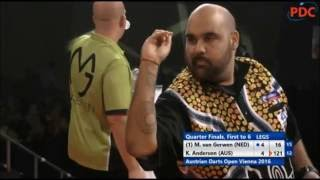 Kyle Anderson hits 3 consecutive bullseye finishes vs MvG - 2016 Austrian Darts Open