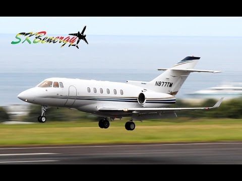 Raytheon Hawker 800XP in Action !!! @ St. Kitts Robert L. Bradshaw Int'l Airport