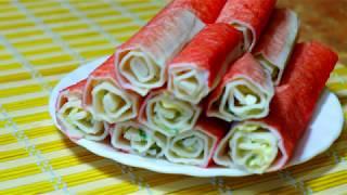 Идеальная закуска за 15 минут! Фаршированные крабовые палочки