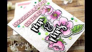Honey Bee Stamps Spring Blossoms Wedding Card | Distress Ink Watercolor