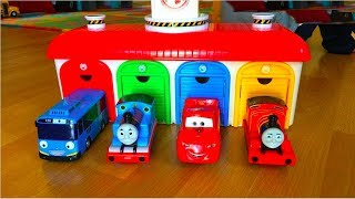 Thomas and Friends Toy Trains, Disney Cars Toys McQueen at Tayo the Little Bus Garage Egg Surprise