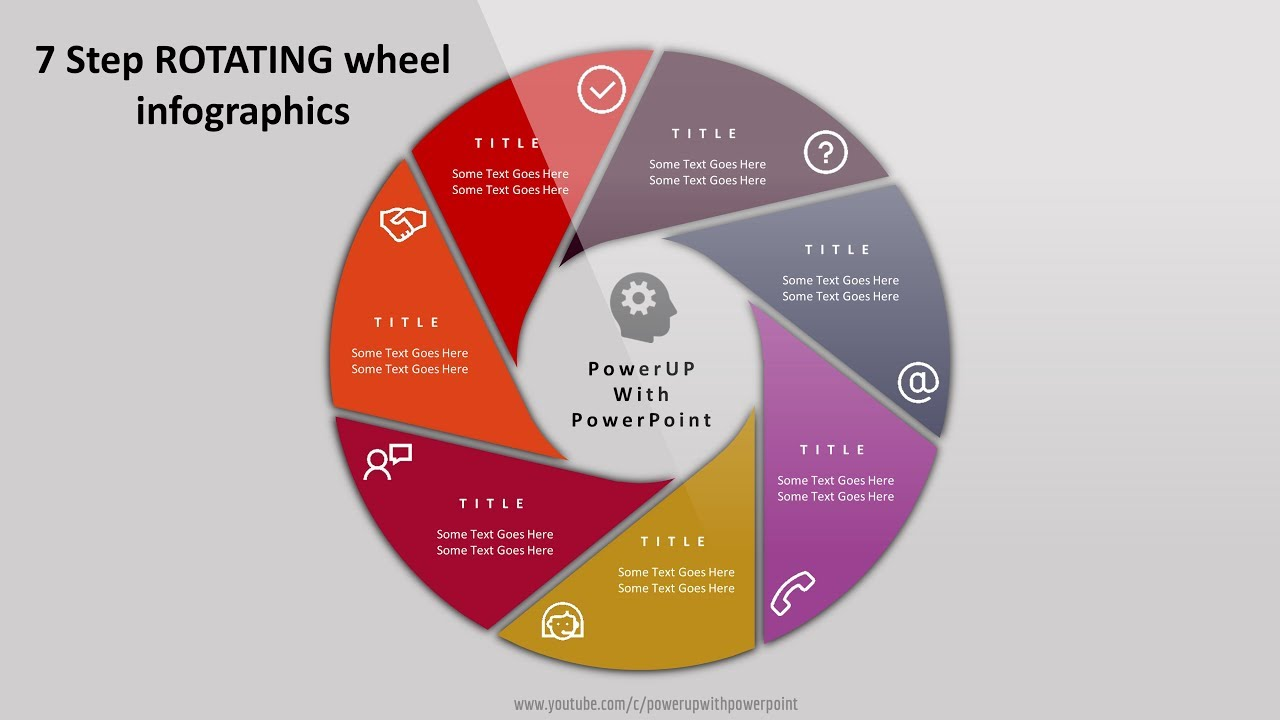 2 create 7 steps rotating wheel infographic powerpoint presentation