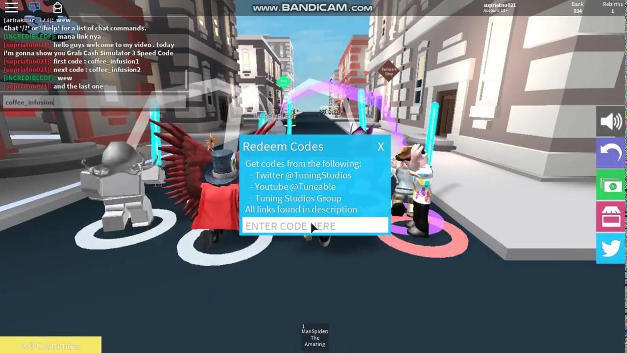 Roblox Cash Grab Simulator All Speed Code Youtube