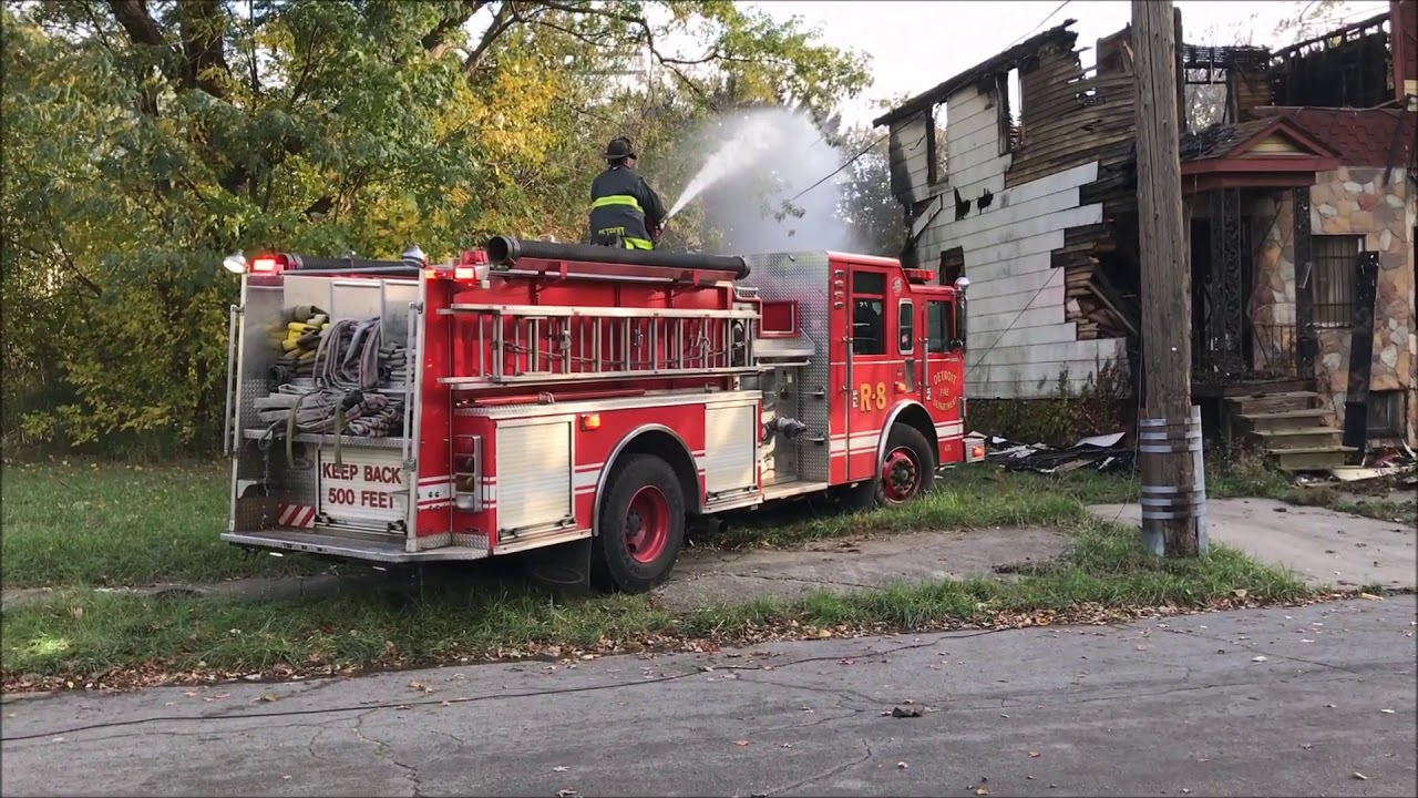 DETROIT FIRE DEPARTMENT RESPONDING TO & OPERATING AT REKINDLED STRUCTURE  FIRE IN 4 DWELLINGS