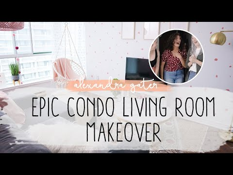 EPIC PINK CONDO LIVING ROOM MAKEOVER | EASIEST STATEMENT WALL EVER