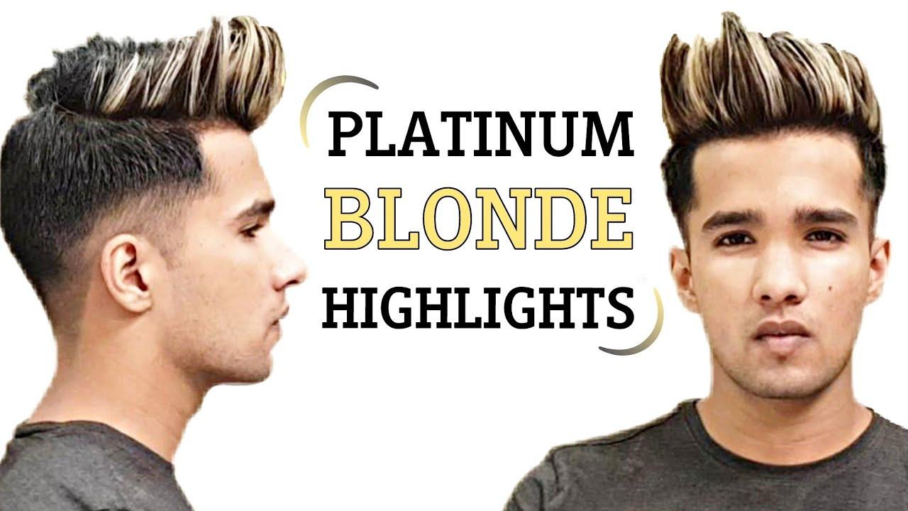 Platinum Blonde Highlights On Black Hair Blonde Hair Color For Men Youtube