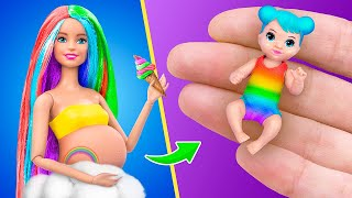 14 DIY Baby Doll Hacks and Crafts / Miniature Rainbow Baby, Cradle, Bottle and More!