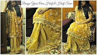 How to make your own half and half saree at home with beautiful borders   DIY Golden Designer Saree