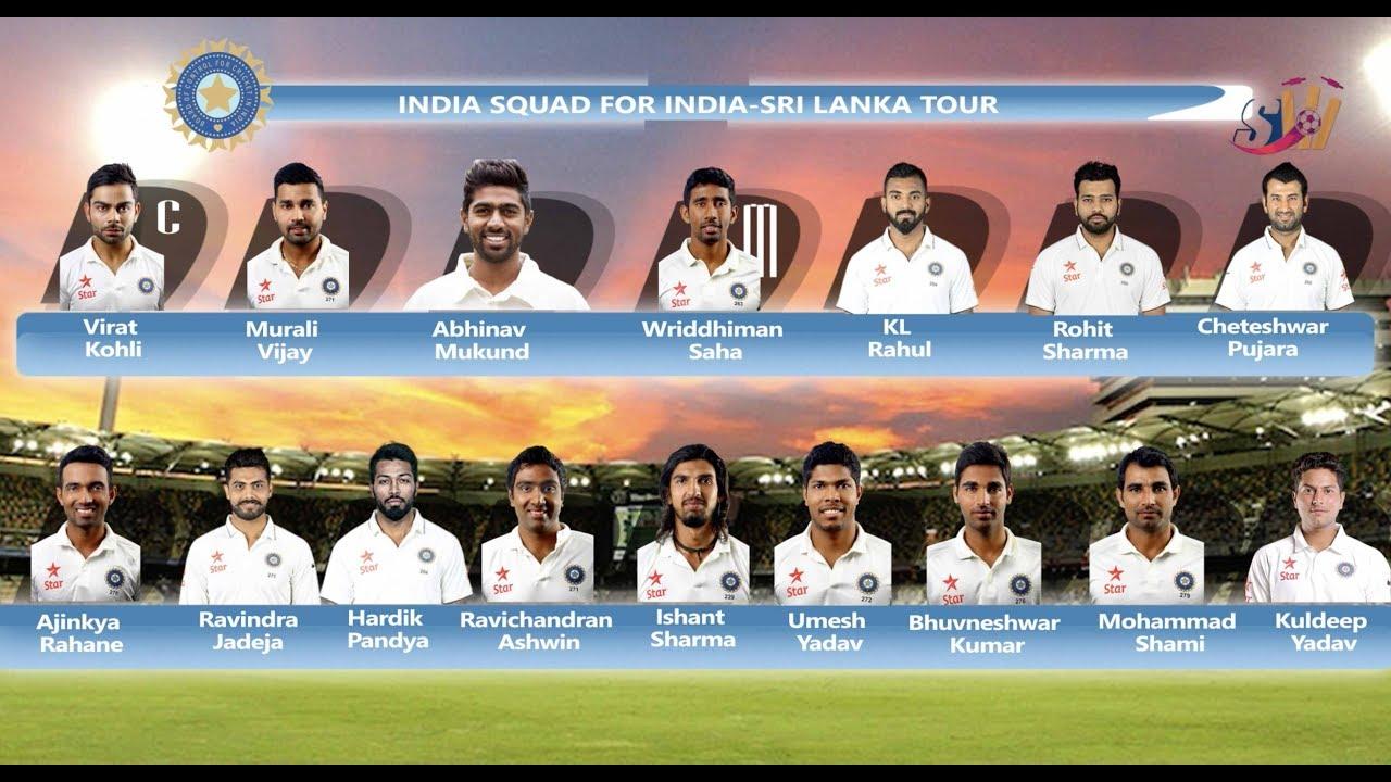Indian Cricket Team Squad For Sri Lanka Tour 2017 Sportzwiki
