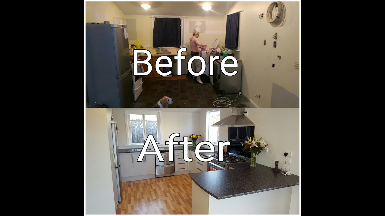 Diy full kitchen renovation timelapse youtube for Diy small kitchen remodel