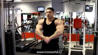 Виталий Фатеев - тренировка плеч и интервью, осень 2011