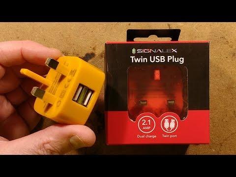 Testing Poundland's 2.1A dual port USB power supply.  (with 2kV)