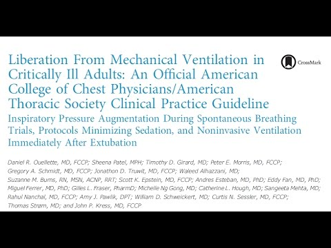 Liberation From Mechanical Ventilation ACCP ATS Guidelines 03242017