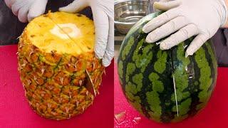 깔끔한 과일 자르기, 깍둑 수박 자르기, 한입 파인애플 자르기, Neat Fruits cutting, Cut a watermelon in cubes, Cut a pineapple