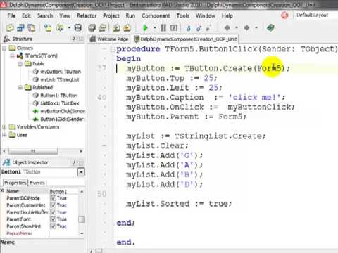 Dynamic Object Creation Delphi Example [FET CAPS IT Grade 11]