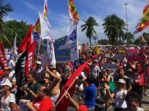 Raw: Hundreds in Brazil Protest New President
