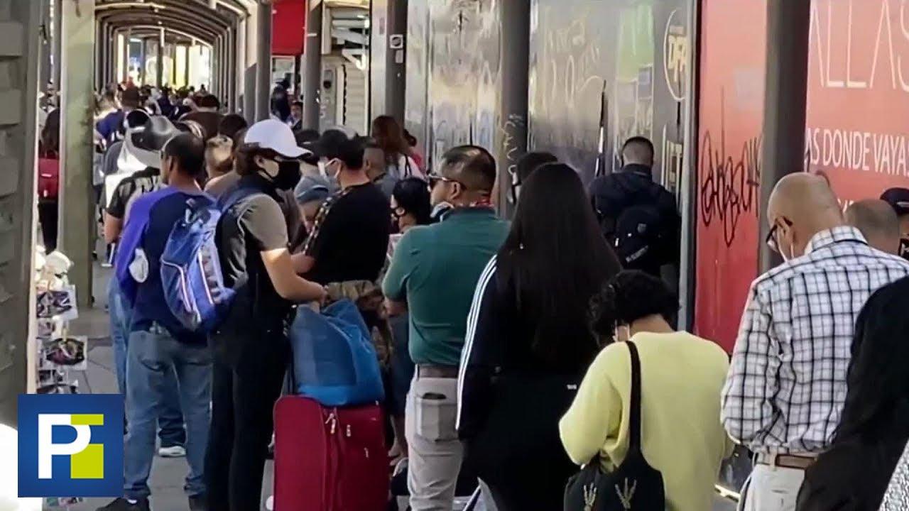 Sin mascarilla y distancia social: panorama en filas del cruce fronterizo entre Tijuana y San Diego