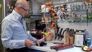 Заточка керамических и металлических кухонных ножей на алмазной заточной машинке Nakatomi NEC-2000