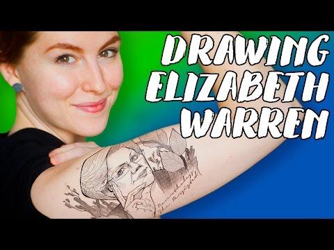 Drawing Elizabeth Warren, Photoshop Tattoo // Rad Art with Beth Be Rad | Snarled