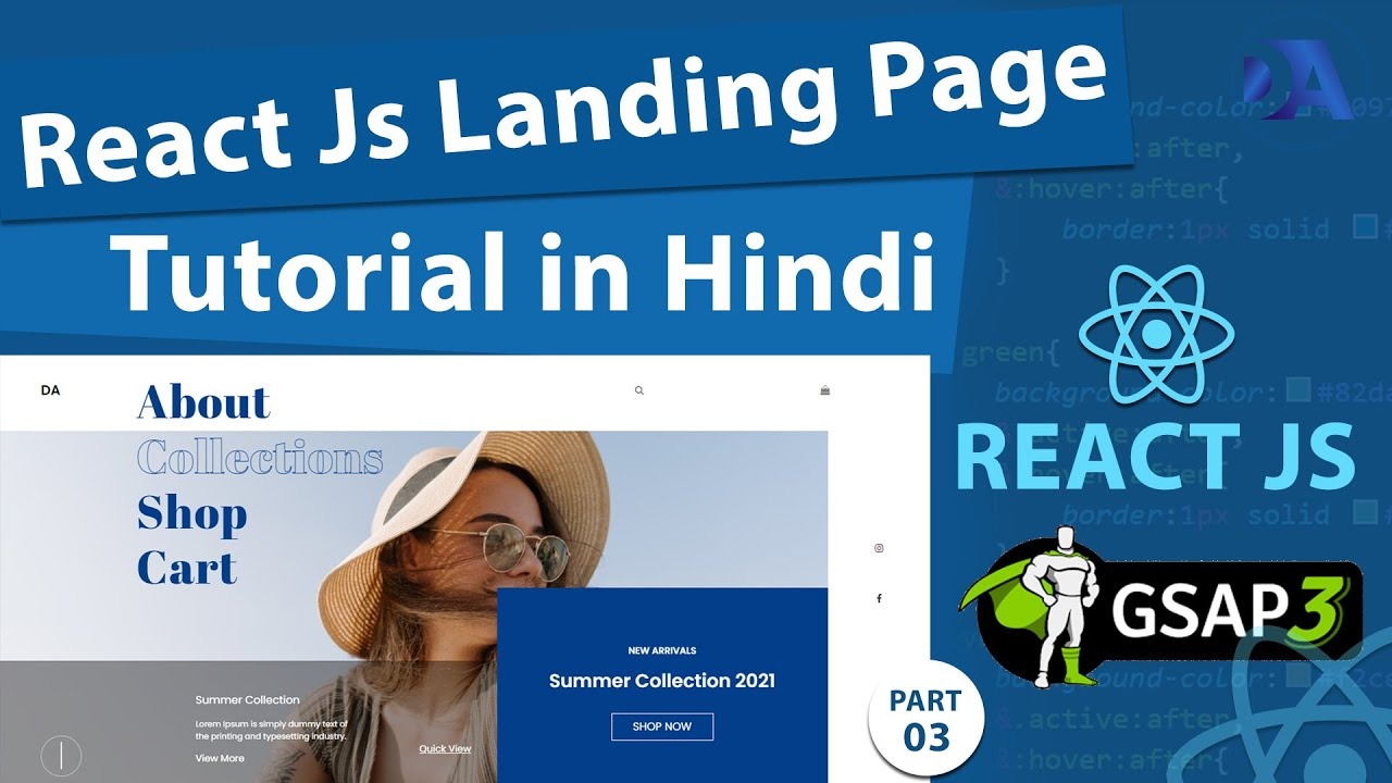 React JS tutorial in Hindi|How to create a Landing page withReact Js and GSAP Animation #3