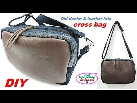 DIY 청바지 가줒배색 4각 크로스백 만들기 old denim & leather into cross bag
