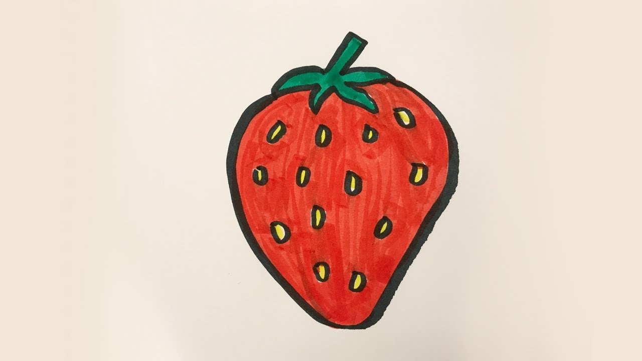 242377f20a How to draw and color a Strawberry -for kids! - YouTube