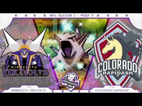 WEATHER WAR! | Minnesota Vikavolts VS Colorado Rapidash Week 11 NPA S3  | Pokemon Sun Moon