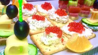 БЫСТРАЯ ЗАКУСКА НА ПРАЗДНИЧНЫЙ СТОЛ канапе рецепт закуска блюда крекер икра сыр