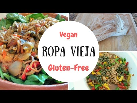 Vegan Gluten-Free Cuban Crock Pot Recipe: Ropa Vieja - Low Cal & Low Carb - Using Mushrooms