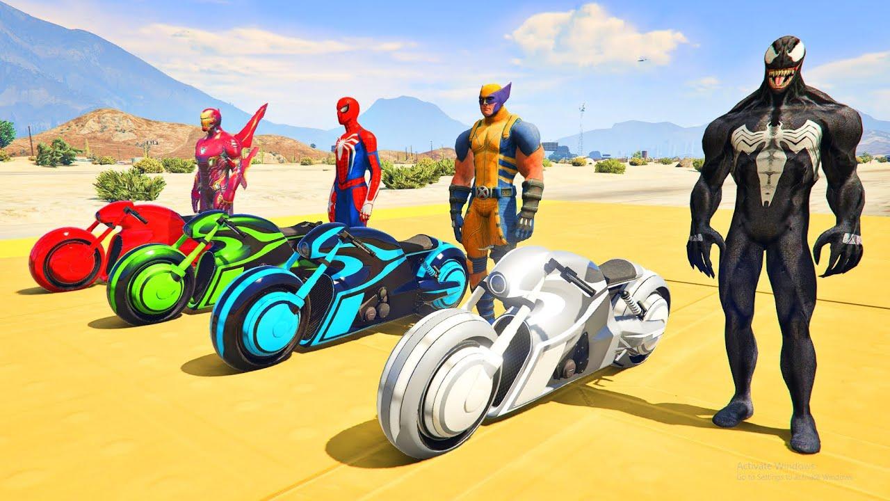 SpiderMan & Superheroes Motorcycles Challenge Wolverine, Venom, Iron Man - GTA V MODS