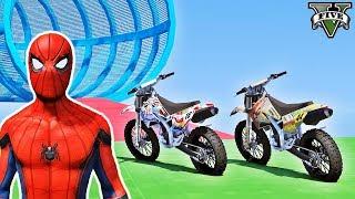 Desafio com MOTOS na Mega Rampa Tubular com Homem Aranha e Heróis! Episódio #24 - GTA V - IR GAMES