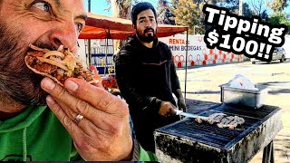 CARNE ASADA Street Tacos In MEXICO - Tipping $100 Dollars From SUBSCRIBERS!! Best Street Food EVER!!
