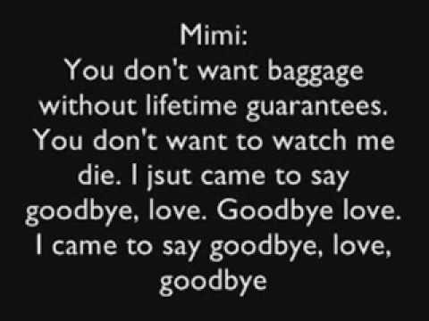 RENT: Goodbye Love lyrics