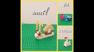 New Lego Classic Ideas - Animals Compilation 2018 - SNAIL, SWAN, FISH