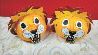 How to make lion mask l Lion Helmet Cap l How to make paper mask l Diy animal hat mask l Animal mask