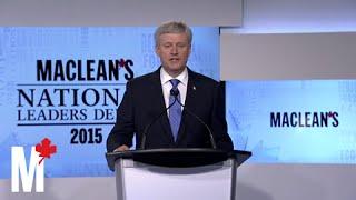 Stephen Harper's closing statement: Maclean's debate