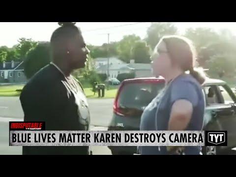 'Blue Lives Matter' Karen DESTROYS Camera