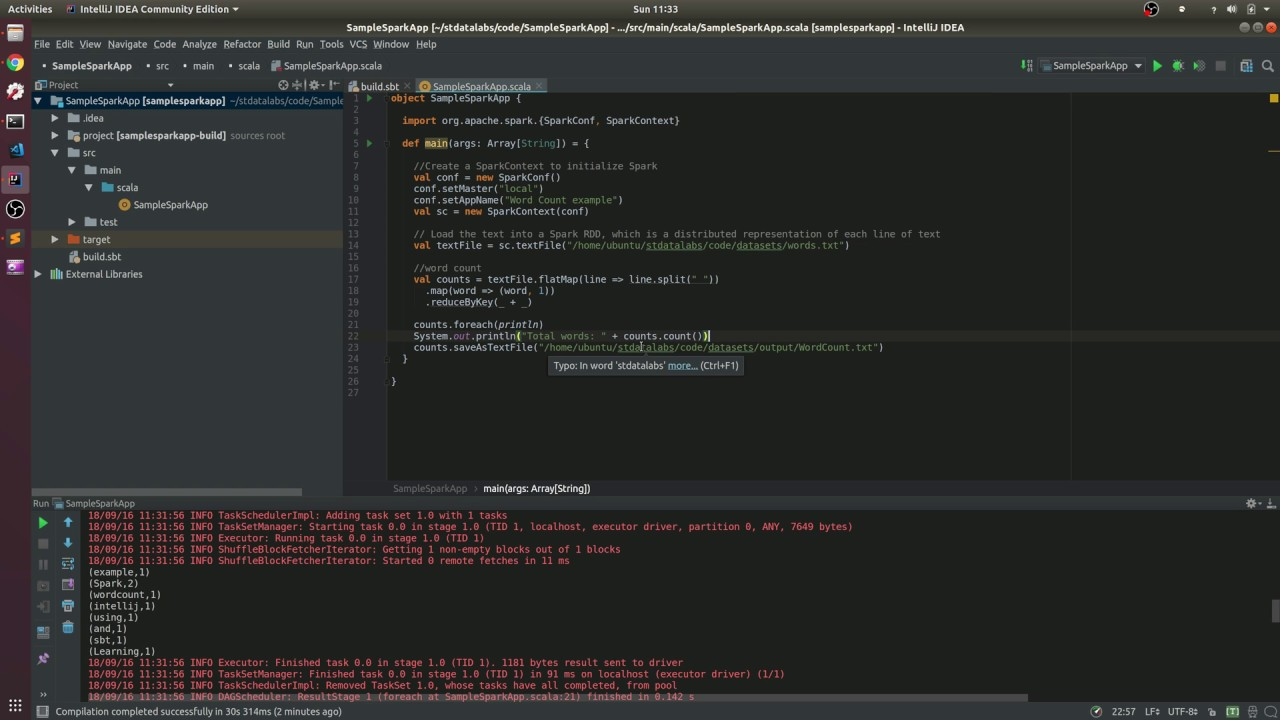 Creating Spark application using IntelliJ and SBT » stdatalabs