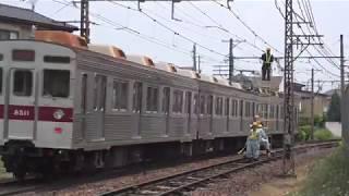 安定輸送のため日中架線点検を行う、長野電鉄保線作業。