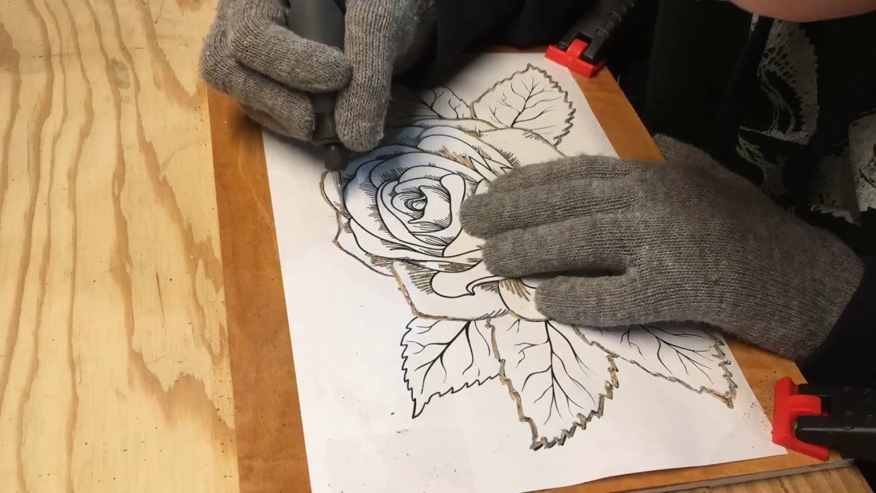 Dremel wood carving flower youtube