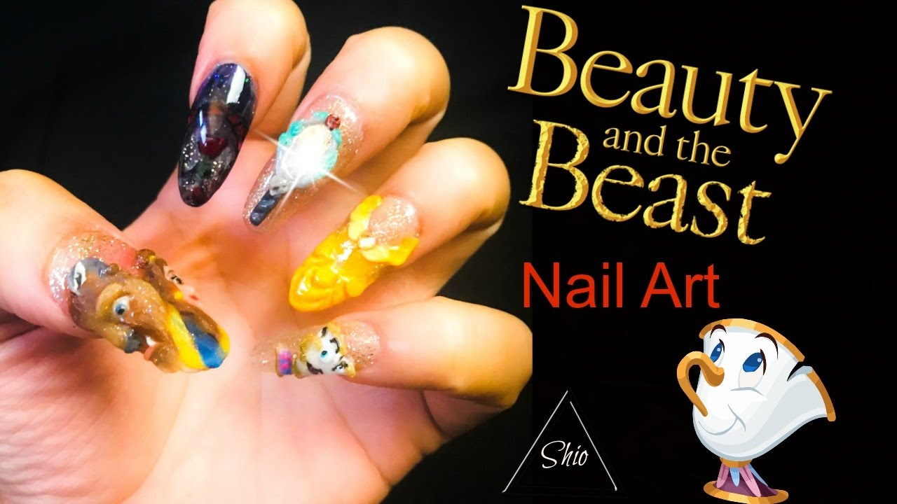 Beauty and the Beast Nail Art - YouTube