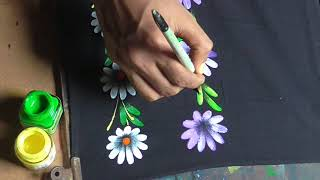 Fabric Painting Floral Techniques | fabric painting tutorial | fabric painting designs