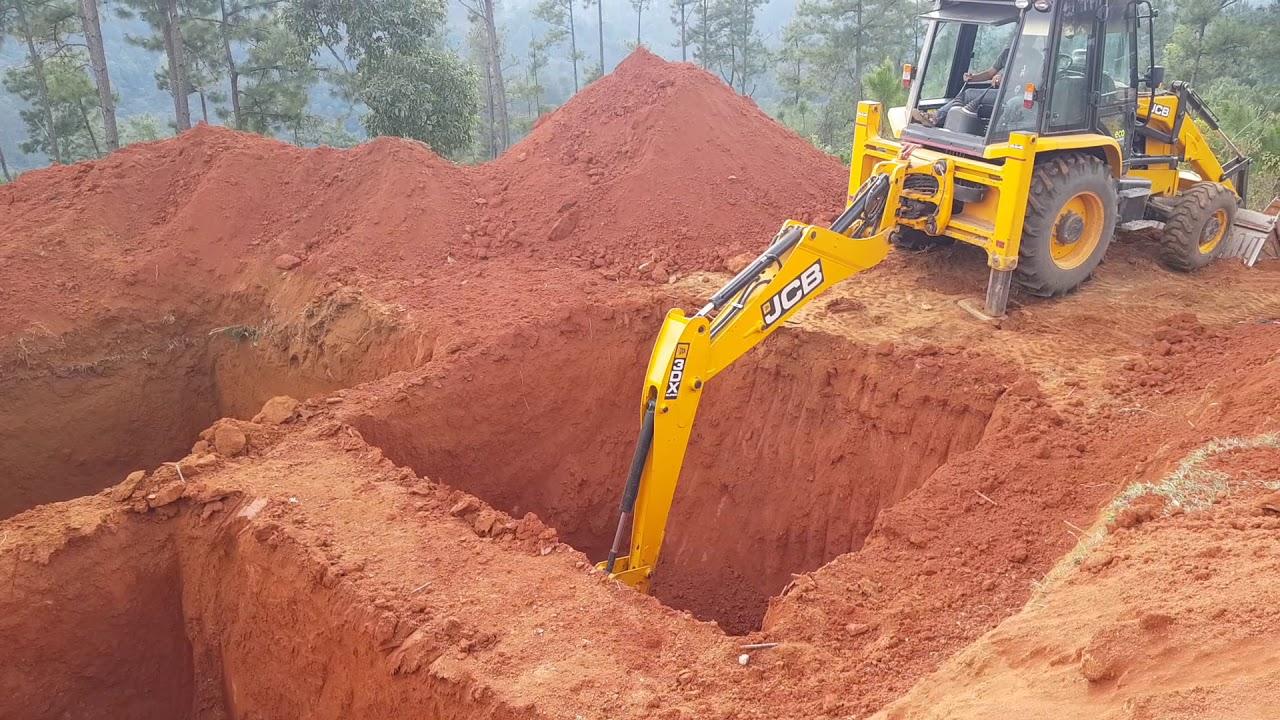 Jcb backhoe loader digging hole##jcb 3dx super digging hole - YouTube