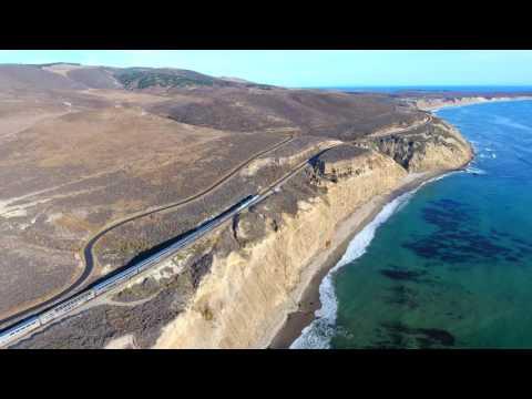 Drone Chasing Amtrak on California Coastline [4k]