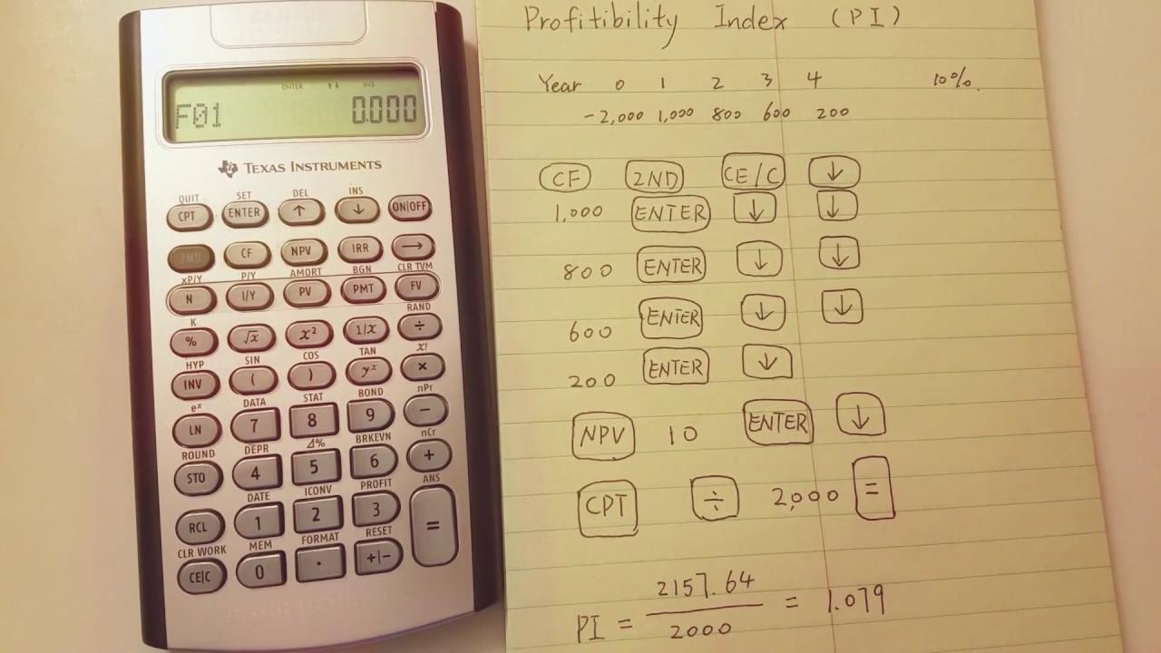ba i i plus professional calculate profitability index pi youtube