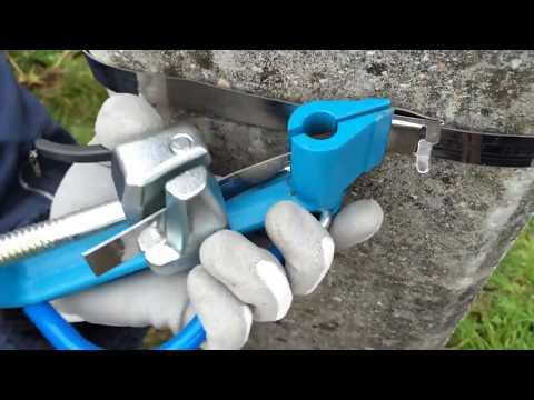 Машинка для бандажной ленты - натяжение ленты на столбе