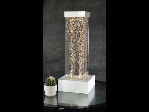Tabletop LED Bubble Fountain White Frame Square