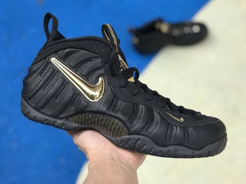 "87a676e3ba8 First Look  Nike Air Foamposite Pro ""Black Metallic Gold"" - YouTube"