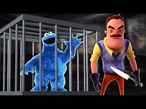 MINECRAFT | HELLO NEIGHBOUR HAS THE COOKIE MONSTER TRAPPED IN HIS BASEMENT!!